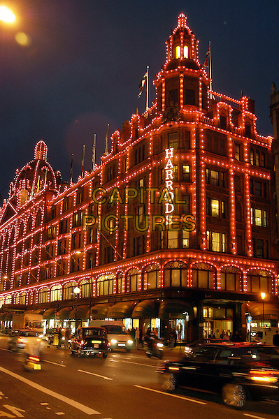 HARRODS.Harrods pink lights to promote Breast Cancer Awareness week..October 1st, 2002.gv general view building shop department store.www.capitalpictures.com.sales@capitalpictures.com.©Capital Pictures