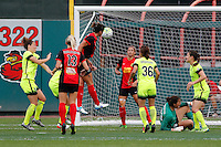 Rochester, NY - Saturday July 09, 2016: Western New York Flash midfielder Abby Erceg (6) scores  during a regular season National Women's Soccer League (NWSL) match between the Western New York Flash and the Seattle Reign FC at Frontier Field.