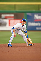 Dunedin Blue Jays shortstop Logan Warmoth (7) during a Florida State League game against the Clearwater Threshers on April 4, 2019 at Spectrum Field in Clearwater, Florida.  Dunedin defeated Clearwater 11-1.  (Mike Janes/Four Seam Images)