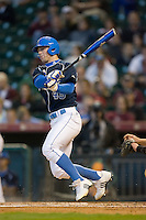 Chris Giovinazzo #49 of the UCLA Bruins follows through on his swing versus the Baylor Bears in the 2009 Houston College Classic at Minute Maid Park February 28, 2009 in Houston, TX.  The Bears defeated the Bruins 5-1. (Photo by Brian Westerholt / Four Seam Images)