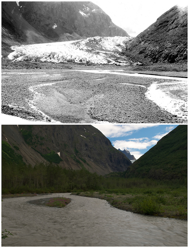 Repeat photography pair showing glacier change of the Eklutna Glacier between 1915 and 2010.  The top image was taken in 1915 by U.S. Geological Survey geologist Stephen Reid Capps.  The bottom image was taken on July 31, 2010 by Ron Karpilo.  Eklutna Glacier is located in the Eklutna Lake area in Chugach State Park, Alaska.