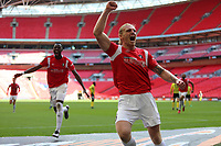 Carl Piergianni of Salford City celebrates during AFC Fylde vs Salford City, Vanarama National League Play-Off Final Football at Wembley Stadium on 11th May 2019