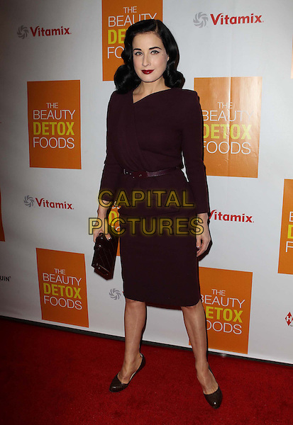 "Dita Von Teese.Celebrity Nutritonist Kimberly Snyder Hosts Book Launch Party For ""The Beauty Detox Foods"" At Smashbox, Hollywood, California, USA..March 26th, 2013.full length dress peplum belt maroon burgundy clutch bag.CAP/ADM/KB.©Kevan Brooks/AdMedia/Capital Pictures."