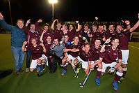 The Hutt team celebrates winning the Wellington premier men's hockey final between Dalefield and Hutt at The National Hockey Stadium, Wellington, New Zealand on Saturday, 12 August 2017. Photo: Dave Lintott / lintottphoto.co.nz