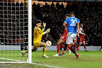 Alfredo Morelos of Rangers goes close during Rangers vs SC Braga, UEFA Europa League Football at Ibrox Stadium on 20th February 2020