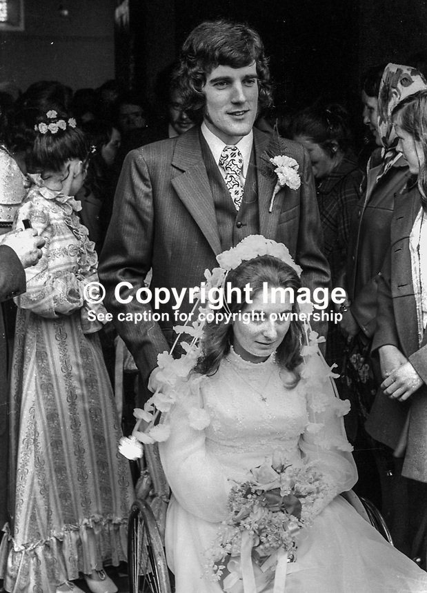 Wedding of Abercorn Restaurant bomb victim, Rosaleen McNern, pictured with her husband, Brendan Murrin, from Killybegs, Co Donegal, Rep of Ireland. They were married in Belfast 4th August 1972. 19720804028c<br /> <br /> Copyright Image from Victor Patterson,<br /> 54 Dorchester Park, Belfast, UK, BT9 6RJ<br /> <br /> t1: +44 28 90661296<br /> t2: +44 28 90022446<br /> m: +44 7802 353836<br /> <br /> e1: victorpatterson@me.com<br /> e2: victorpatterson@gmail.com<br /> <br /> For my Terms and Conditions of Use go to<br /> www.victorpatterson.com