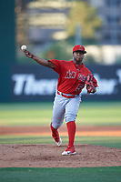 AZL Angels relief pitcher Ewdy Aquino (56) during an Arizona League game against the AZL Padres 1 on July 16, 2019 at Tempe Diablo Stadium in Tempe, Arizona. The AZL Padres 1 defeated the AZL Angels 3-1. (Zachary Lucy/Four Seam Images)