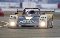 The #4 Oldsmobile Riley & Scott Mk III of Wayne Taylor, Scott Sharp, and Jim Pace races to victory in the 24 Hours of Daytona, IMSA race, Daytona International Speedway, Daytona Beach , FL, February 4, 1996.  (Photo by Brian Cleary/www.bcpix.com)