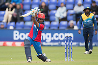 Hashmatullah Shahidi  (Afghanistan) drives and gets a thick edge to third during Afghanistan vs Sri Lanka, ICC World Cup Cricket at Sophia Gardens Cardiff on 4th June 2019
