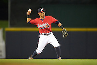Mississippi Braves shortstop Emerson Landoni (19) throws to first during a game against the Pensacola Blue Wahoos on May 28, 2015 at Trustmark Park in Pearl, Mississippi.  Mississippi defeated Pensacola 4-2.  (Mike Janes/Four Seam Images)