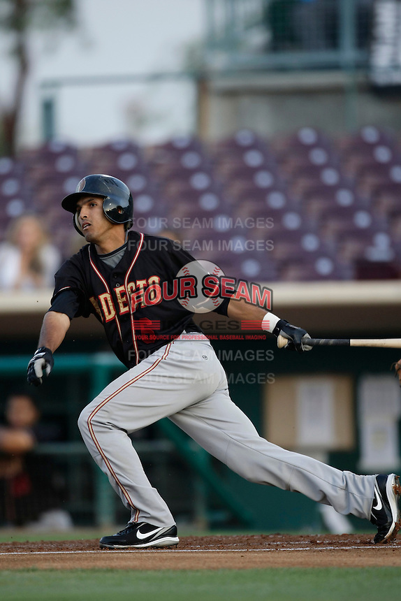 May 28 2009: Maikol Gonzalez of the Modesto Nuts during game against the Inland Empire 66'ers at Arrowhead Credit Union Park in San Bernardino,CA.  Photo by Larry Goren/Four Seam Images