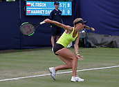 June 13th 2017, The Northern Lawn tennis Club, Manchester, England; ITF Womens tennis tournament; Magdalena Frech (POL) hits a backhand during her first round singles match against Harriet Dart (GBR); Frech won in three sets