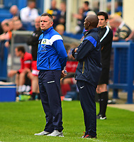Gainsborough Trinity's Manager Dave Frecklington and assistant manager Terry Fleming<br /> <br /> Photographer Andrew Vaughan/CameraSport<br /> <br /> Pre-Season Friendly - Gainsborough Trinity v Lincoln City - Saturday 15th July 2017 - The Gainsborough Martin &amp; Co Arena - Gainsborough<br /> <br /> World Copyright &copy; 2017 CameraSport. All rights reserved. 43 Linden Ave. Countesthorpe. Leicester. England. LE8 5PG - Tel: +44 (0) 116 277 4147 - admin@camerasport.com - www.camerasport.com