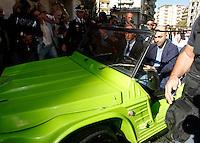 Anniversario omicidio del giornalista Giancarlo Siani trucidato dalla Camorra nel 1985<br /> nella foto Roberto Saviano   a bordo dell'auto