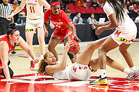 College Park, MD - March 23, 2019: Maryland Terrapins forward Shakira Austin (1) gets the loose ball during game between Radford and Maryland at  Xfinity Center in College Park, MD.  (Photo by Elliott Brown/Media Images International)