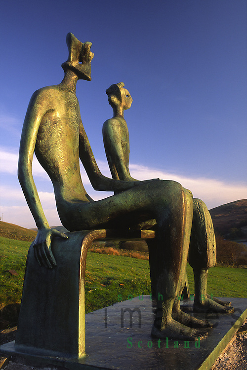 Artist Henry Moores King and Queen sculpture catching the early morning sunshine at Glenkiln near Dumfries, Scotland UK