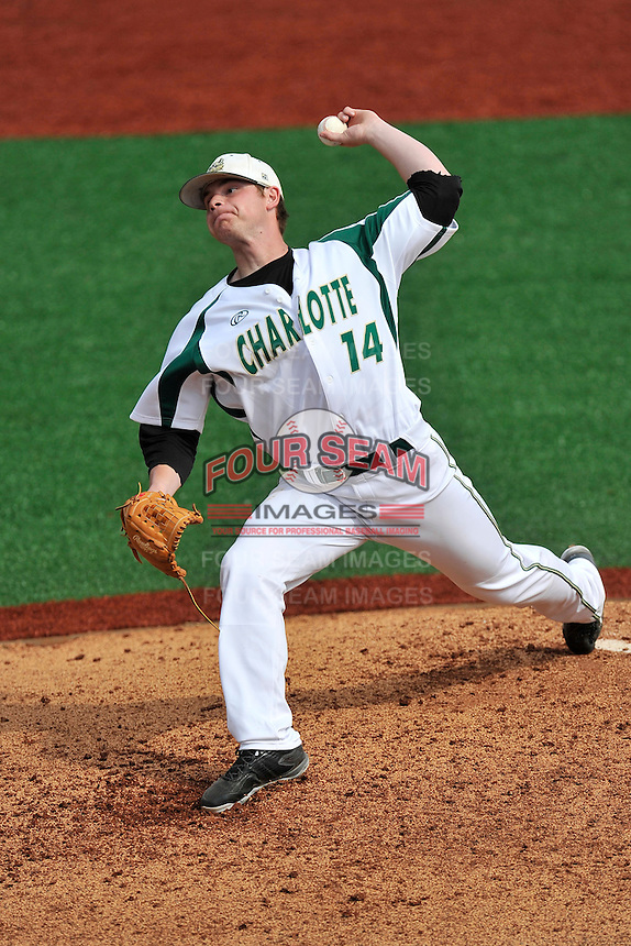 Pitcher Drew Morrison (14) of the Charlotte 49ers delivers a pitch in Game 1 of a doubleheader against the Fairfield Stags on Saturday, March 12, 2016, at Hayes Stadium in Charlotte, North Carolina. (Tom Priddy/Four Seam Images)