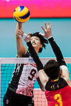Middle blocker Haruyo Shimamura of Japan spikes the ball during the FIVB Volleyball World Grand Prix match between China vs Japan on July 21, 2017 in Hong Kong, China. Photo by Marcio Rodrigo Machado / Power Sport Images