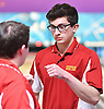 Dave Bianco of Chaminade, right, gets congratulated by teammate Bobby Wright after rolling a strike in the Nassau-Suffolk CHSAA boys bowling league championship against Kellenberg at Farmingdale Lanes on Monday, Feb. 13, 2017.