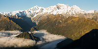 Views over Southern Alps with highest peaks Aoraki Mount Cook, Mount Tasman and La Perouse and Balfour Glacier at sunset, Westland Tai Poutini National Park, UNESCO World Heritage Area, West Coast, New Zealand, NZ