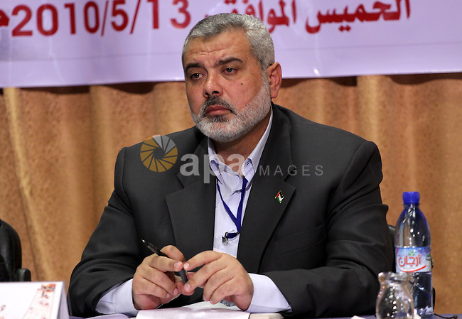Palestinian Prime Minister in the Gaza Strip, Ismail Haniya attends a meeting of the Palestinian Legislative council to mark Nakba anniversary in Gaza City on May 13, 2010. Photo by Mohammed Asad
