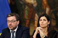 Undersecretary Giancarlo Georgette, Mayor of Rome Virginia Raggi <br /> Rome April 11th 2019. Palazzo Chigi. Presentation of the 76° edition of International BNL of Italy tennis tournament.<br /> photo di Samantha Zucchi/Insidefoto