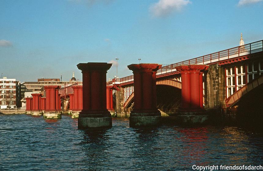 London:  Thameside Walk #15.  Blackfriars Railway Bridge.  Photo '90.
