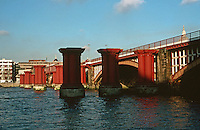London:  Thameside Walk #15.  Blackfriars Railway Bridge.  Photo '90.