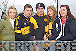 Jane Cuninghan, Joesph Keogh, Anthony Keogh, Grainne Wright, and Ciara Wright Dr. Crokes fans at the AIB Senior Club Football Championship Munster Final at Mallow GAA Grounds on Sunday 30th January 2011.