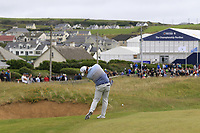 Robert MacIntyre (SCO) plays his 2nd shot on the 18th hole during Saturday's Round 3 of the Dubai Duty Free Irish Open 2019, held at Lahinch Golf Club, Lahinch, Ireland. 6th July 2019.<br /> Picture: Eoin Clarke | Golffile<br /> <br /> <br /> All photos usage must carry mandatory copyright credit (© Golffile | Eoin Clarke)