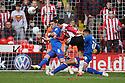 Jon Ashton of Stevenage blocks a shot from Michael O'Halloran of Sheffield United. - Sheffield United v Stevenage - npower League 1 - Bramall Lane, Sheffield  - 28th April, 2012. © Kevin Coleman 2012