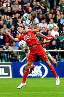 GRONINGEN - Voetbal, FC Groningen - FC Twente, Eredivisie, seizoen 2019-2020, 10-08-2019, FC Groningen speler Mike te Wierik wint kopduel van Haric Vuckic