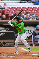 Lake County Captains first baseman Miguel Jerez (36) at bat during a Midwest League game against the Wisconsin Timber Rattlers on May 10, 2019 at Fox Cities Stadium in Appleton, Wisconsin. Wisconsin defeated Lake County 5-4. (Brad Krause/Four Seam Images)