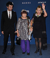 LOS ANGELES, CA - NOVEMBER 02: Agnes Varda (middle) arrives at  LACMA 2013 Art + Film Gala held at LACMA  in Los Angeles, California on November 2nd, 2012 in Los Angeles, CA., USA.<br /> CAP/DVS<br /> &copy;DVS/Capital Pictures