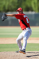Cincinnati Reds minor league pitcher Austin Muehring #89 during an instructional league game against the Milwaukee Brewers at Maryvale Baseball Park on October 3, 2012 in Phoenix, Arizona.  (Mike Janes/Four Seam Images)