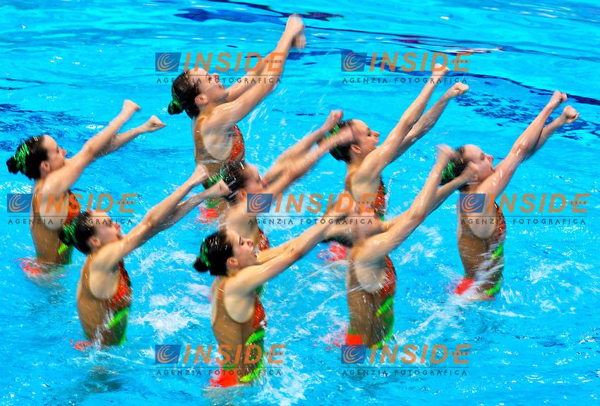 GREECE GRE <br /> ARMAOU Maria Eleni / DIPLA Ifigeneia<br /> FARANTOURI Valentina / GKEORGKIEVA Giana<br /> KOUTIDI Evangelia / PAPAZOGLOU Evangelia<br /> SARANTIDI Sofia / TAXOPOULOU Anna Maria<br /> Team Free Final <br /> London, Queen Elizabeth II Olympic Park Pool <br /> LEN 2016 European Aquatics Elite Championships <br /> Synchronized Swimming <br /> Day 05 13-05-2016<br /> Photo Andrea Staccioli/Deepbluemedia/Insidefoto