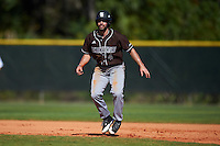St. Bonaventure Bonnies David Vaccaro (4) leads off first base during a game against the Dartmouth Big Green on February 25, 2017 at North Charlotte Regional Park in Port Charlotte, Florida.  St. Bonaventure defeated Dartmouth 8-7.  (Mike Janes/Four Seam Images)