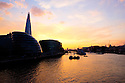 London, UK. 07.04.2015. View towards More London and the Shard, from Tower Bridge, at sunset, London, UK. Photograph © Jane Hobson.