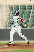 Chance Sisco (23) of the Delmarva Shorebirds follows through on his swing against the Kannapolis Intimidators at CMC-NorthEast Stadium on July 2, 2014 in Kannapolis, North Carolina.  The Intimidators defeated the Shorebirds 6-4. (Brian Westerholt/Four Seam Images)