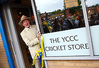 PICTURE BY VAUGHN RIDLEY/SWPIX.COM - Cricket - County Championship, Div 2 - Yorkshire v Northamptonshire, Day 1  - Headingley, Leeds, England - 20/05/12 - Yorkshire CCC President Geoffrey Boycott officially opens the new cub shop.
