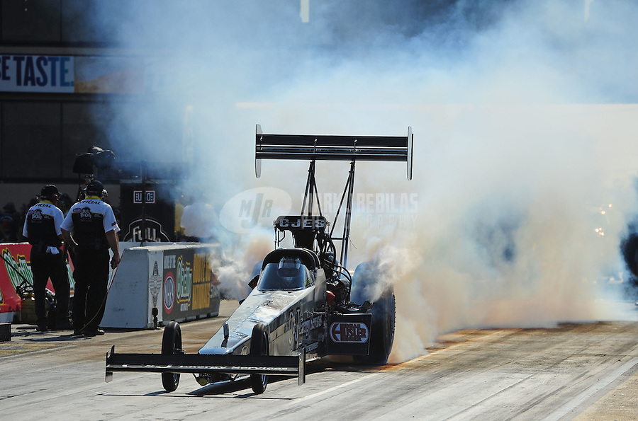 Jun. 30, 2012; Joliet, IL, USA: NHRA top fuel dragster driver Bob Vandergriff Jr during qualifying for the Route 66 Nationals at Route 66 Raceway. Mandatory Credit: Mark J. Rebilas-
