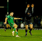 9th February 2018, Galway Sportsground, Galway, Ireland; Guinness Pro14 rugby, Connacht versus Ospreys; Sam Davies (Ospreys) blocks Caolin Blade's (Connacht) kick