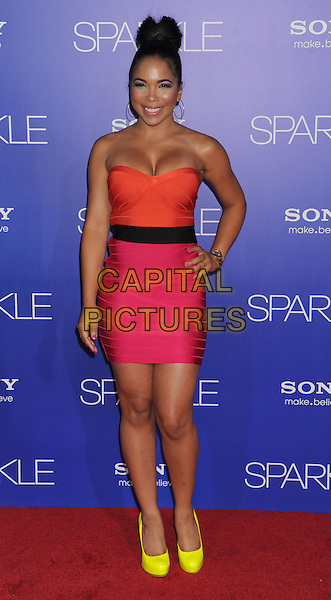 Maya Gilbert.World Premiere of 'SPARKLE' held at The Grauman's Chinese Theatre in Hollywood, California, USA..August 16th, 2012.full length pink dress black belt yellow shoes  orange neon fluorescent hand on hip.CAP/ROT/TM.©Tony Michaels/Roth Stock/Capital Pictures