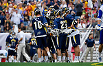 FOXBORO, MA - MAY 28: The Merrimack Warriors celebrate after scoring a goal during the Division II Men's Lacrosse Championship held at Gillette Stadium on May 28, 2017 in Foxboro, Massachusetts. (Photo by Larry French/NCAA Photos via Getty Images)