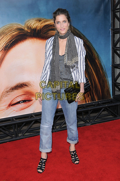 "AMANDA PEET.The Columbia Pictures' World Premiere of ""Pineapple Express"" held at The Mann's Village Theatre in Westwood, California on .July 31st, 2008 .full length jeans denim rolled turned up black straps sandals shoes grey gray polka dot scarf top white striped stripes shirt black clutch bag .CAP/DVS.©Debbie VanStory/Capital Pictures."