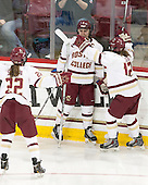 Carpenter goal overturned on review due to offsides. Haley Skarupa (BC - 22), Alex Carpenter (BC - 5), Kenzie Kent (BC - 12) - The Boston College Eagles defeated the Northeastern University Huskies 5-1 (EN) in their NCAA Quarterfinal on Saturday, March 12, 2016, at Kelley Rink in Conte Forum in Boston, Massachusetts.