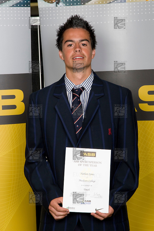 Boys Touch winner Nathan Symes from Macleans College. ASB College Sport Young Sportperson of the Year Awards 2008 held at Eden Park, Auckland, on Thursday November 13th, 2008.