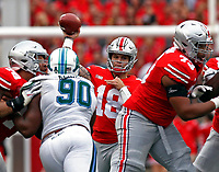 Ohio State Buckeyes quarterback Tate Martell (18) passes for yardage in the second quarter Tulane at Ohio Stadium September 22, 2018.[Eric Albrecht/Dispatch]