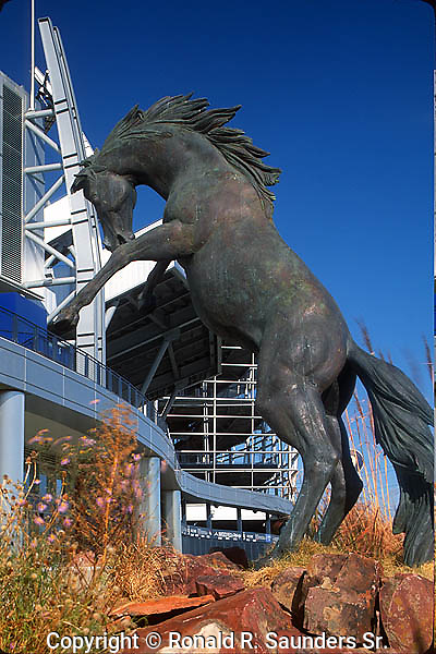 Metal horse sculpture at Sports Authority Field at Mile High Stadium