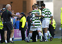 20/08/2005         Copyright Pic : James Stewart.File Name : jspa30 rangers v celtic.NEIL LENNON IS ESCORTED OFF THE PARK AFTER HE HAD A GO AT REF STUART DOUGAL AT THE END OF THE GAME.....Payments to :.James Stewart Photo Agency 19 Carronlea Drive, Falkirk. FK2 8DN      Vat Reg No. 607 6932 25.Office     : +44 (0)1324 570906     .Mobile   : +44 (0)7721 416997.Fax         : +44 (0)1324 570906.E-mail  :  jim@jspa.co.uk.If you require further information then contact Jim Stewart on any of the numbers above.........